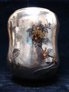 銀製 打込象嵌水指「お花見」