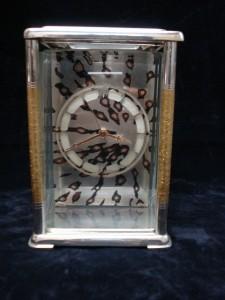 銀製杢目金置き時計