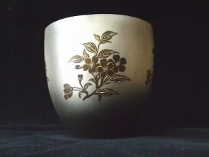 銀製 打込象嵌花器「夜桜」