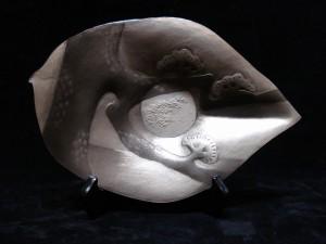 南鐐打ち出し飾り皿「中秋の名月」